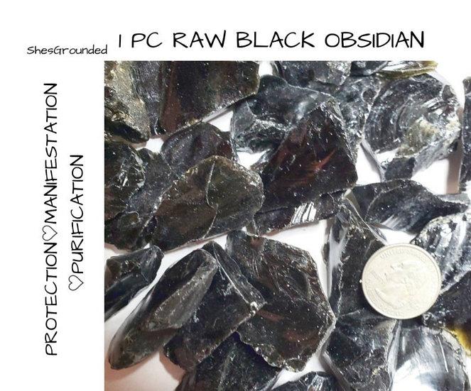 Raw Black Obsidian