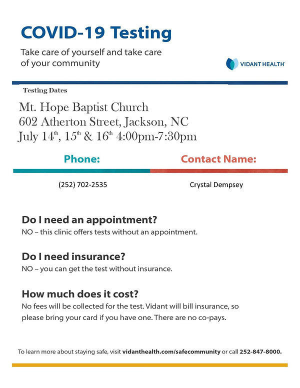 Template Flyer for Mt.Hope Baptist Covid
