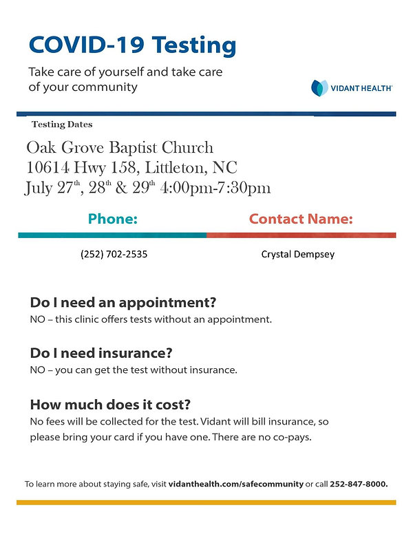 Template Flyer for Oak Grove Baptist Cov