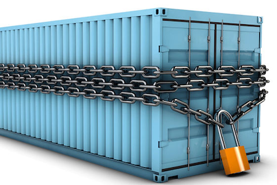 Container wrapped in a chain