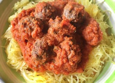 Triple-Whammy: Spaghetti Squash with Nomato Sauce and Meatballs