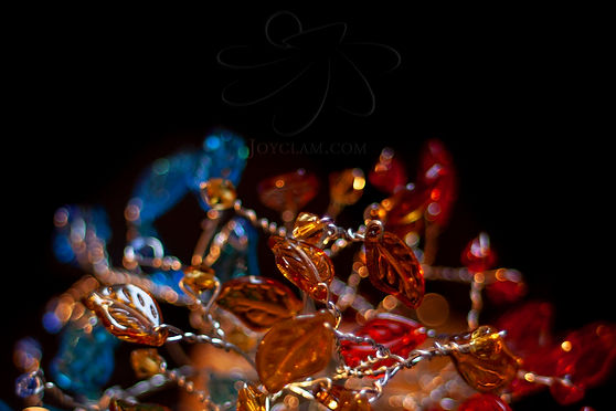 Glass bead wire tree Romania art Joyclam