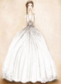 figurino abito da sposa