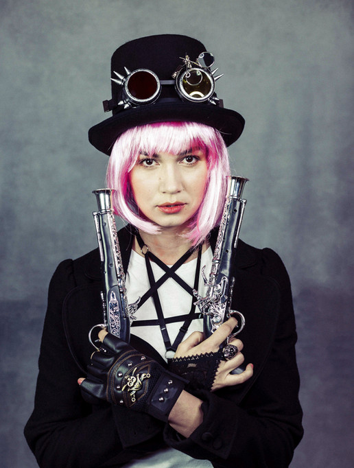 pink hair steampunk