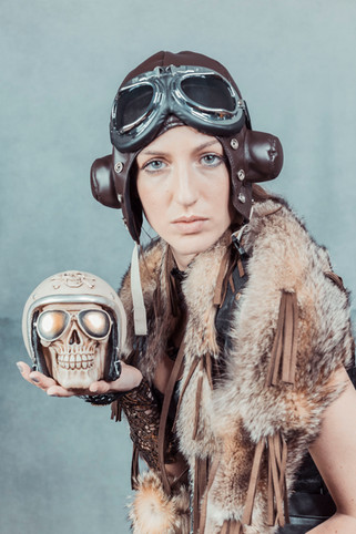 steampunk aviator skull