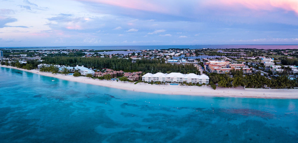 Seven mile beach from air Grand Cayman