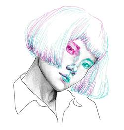 Fineliner- und Bleistift-Zeichnung