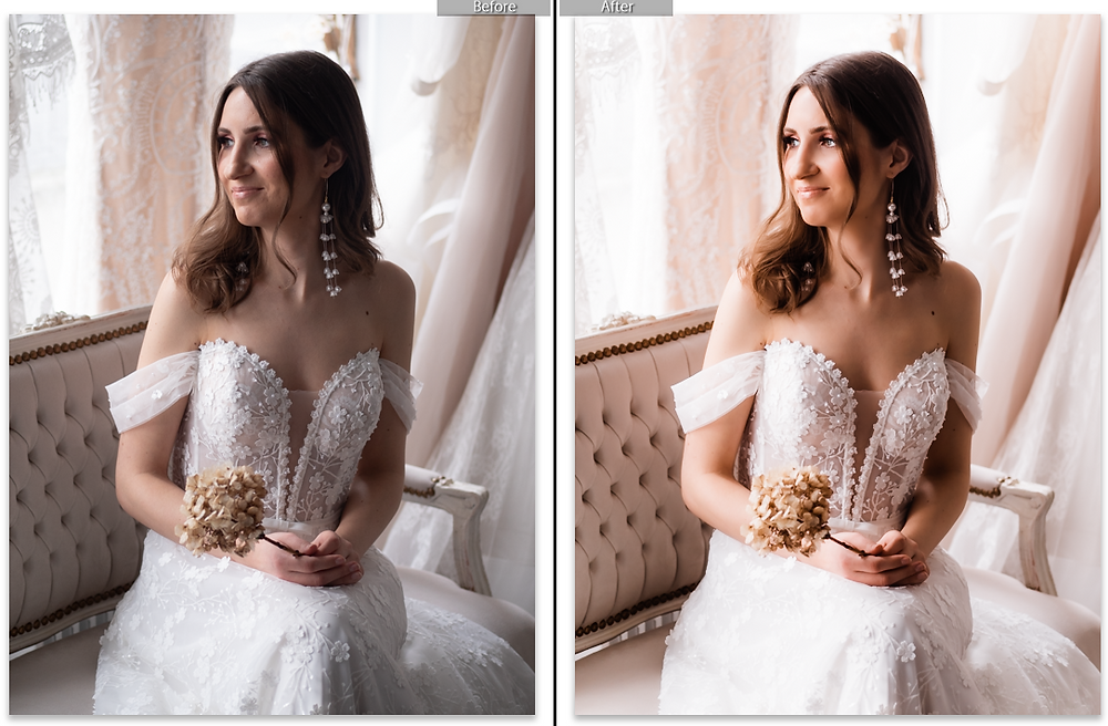 Bride wearing floral wedding dress, photo before and after photo editing