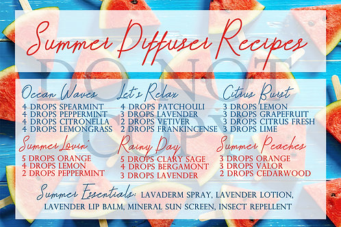 Summer Diffuser Recipe Card