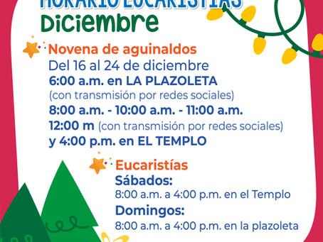 Horarios de eucaristías y novena de aguinaldos 2020