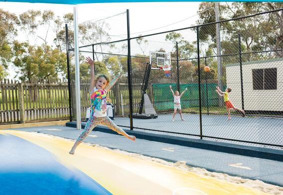 Jumping cushion with ball court