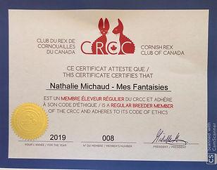 Certificat membre du CRCC