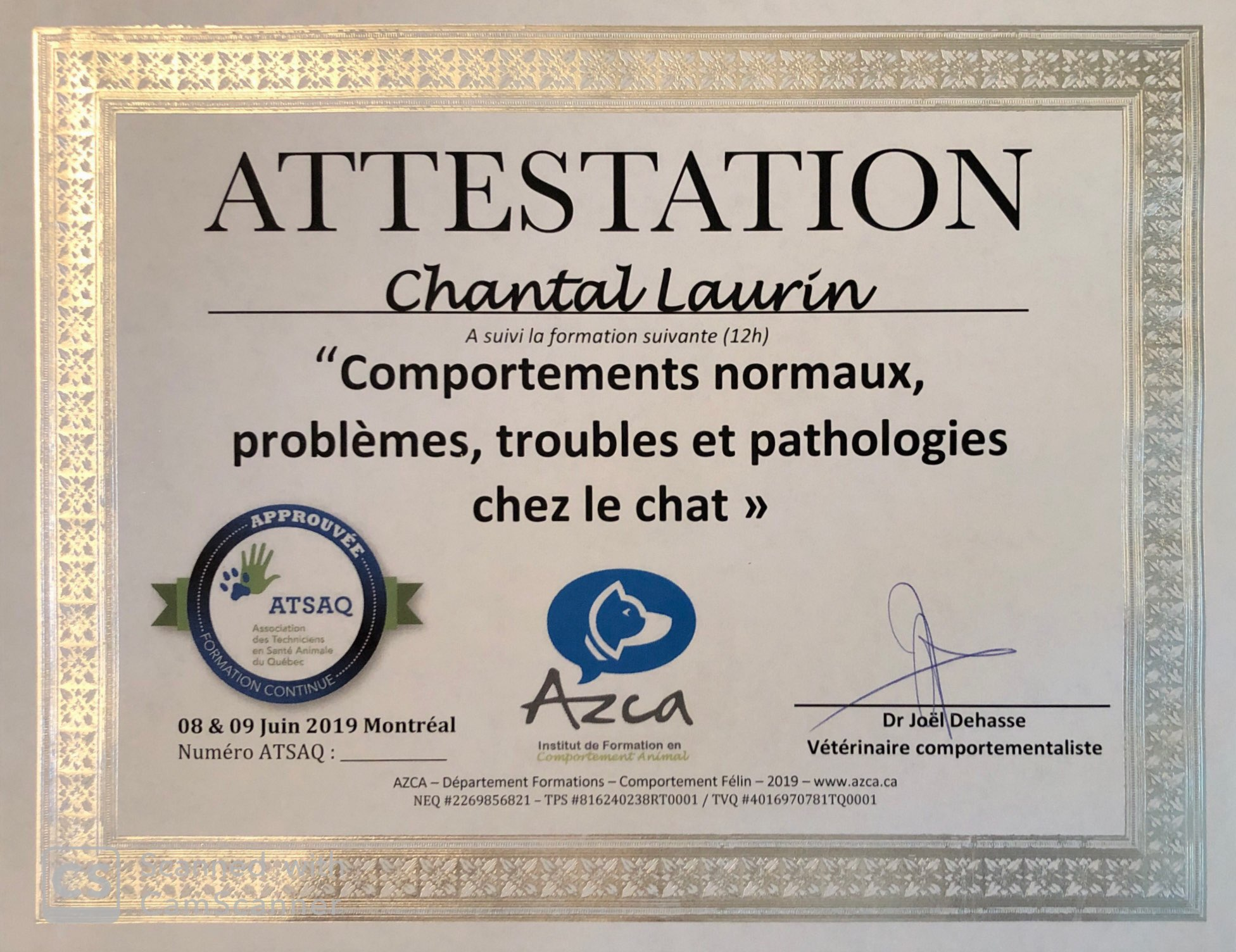 Certificat de formation Azca