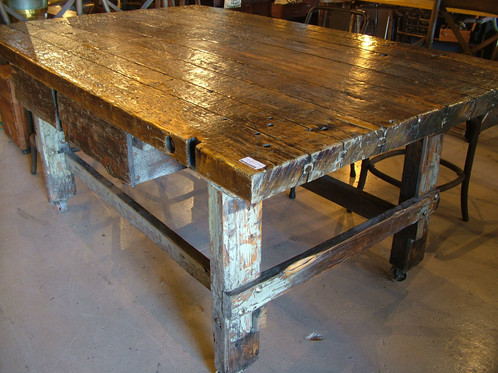 A Large Old Hickory Work Table With 2 Drawers And Castors.