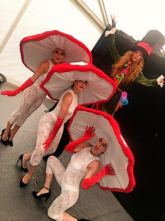 WinterWorks Entertainment - Spring Garden theme - Alice in Wonderland - Living Mushrooms - Mad Hatter - afternoon tea party - Liverpool - hospitality