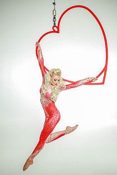 WinterWorks Entertainment, Valentines Day Theme, Valentines Entertainment, Aerial Hoop, Aerial Heart Hoop, Aerialist, Event, Event Entertainment, Liverpool