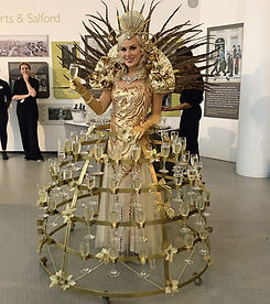 WinterWorks Entertainment - Champagne Dress - Spring Garden theme - Gold - Hospitality - Giveaways - event entertainment liverpool