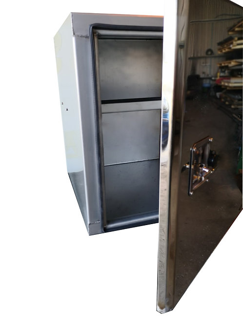 W600XD700XH700 Matte Stainless Toolbox, Mirrored Stainless Door & Fixed Shelf