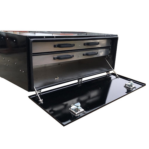 W1200xD640xH440 Aluminium Truck Toolbox, With 2 roll out sliding shelves
