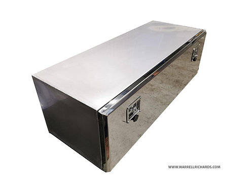 W1200XD300XH300 Matt Stainless, Mirrored lid tool box, Ford transit tipper