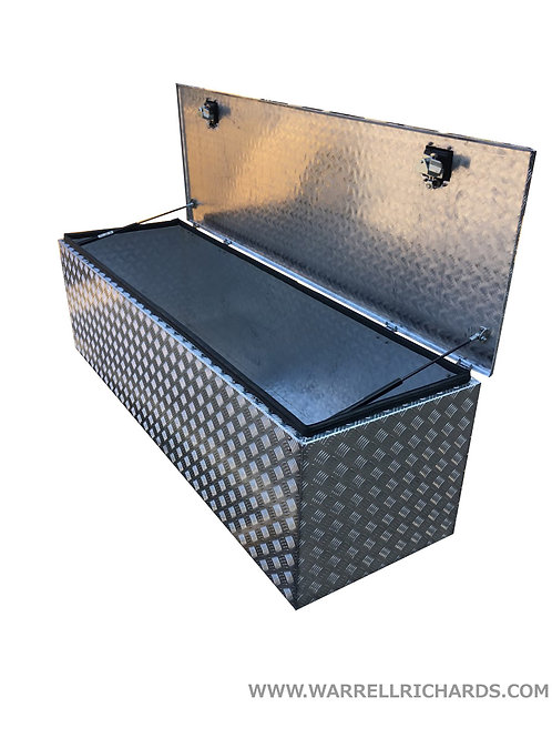 W1900xD600xH560 Chequer Toolbox With Gas Struts, Aluminium Truck Toolbox