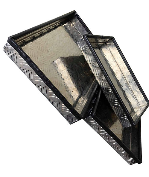 Tray, Aluminium chequerplate W500xD500xH100 2mm base thickness