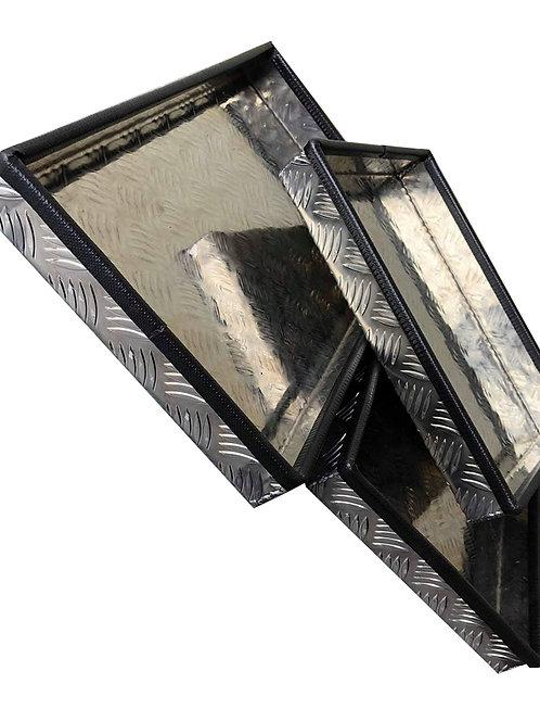 W300xD300xH50 Tray, Aluminium chequerplate, catwalk ratchet strap storage, HGV