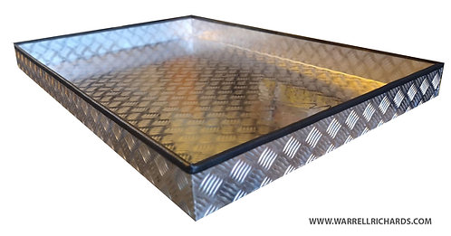 W650xD900xH100 Tray, Aluminium chequerplate, 2mm base thickness