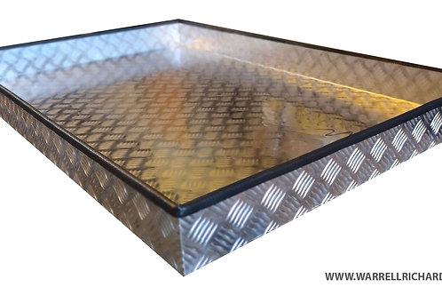 W650xD900xH100 Tray, Aluminium chequerplate, 2mm base thickness