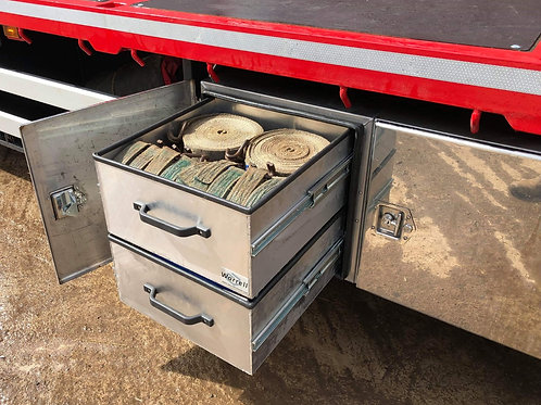 W1200 x D600 x H600 with roll out shelving, Scania Stainless Truck Toolbox