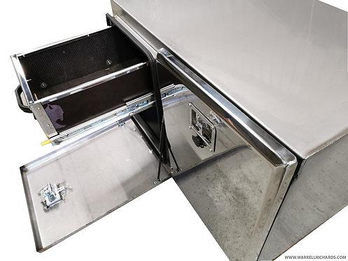 W1000xD500xH600 Matt Stainless, Mirrored lid truck tool box, Roll out shelf