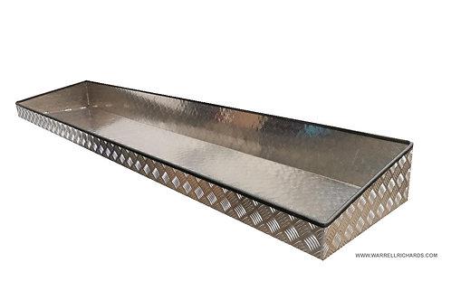 W2000xD475xH180/100 Aluminium chequerplate strap tray, side rail trailer storage
