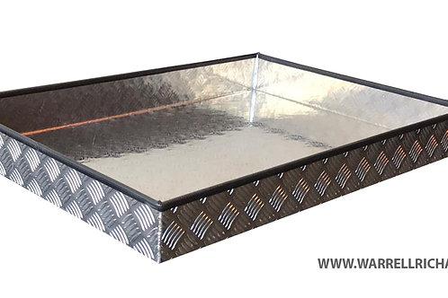 W600xD300xH100 Aluminium chequerplate strap tray, trailer storage, truck tray