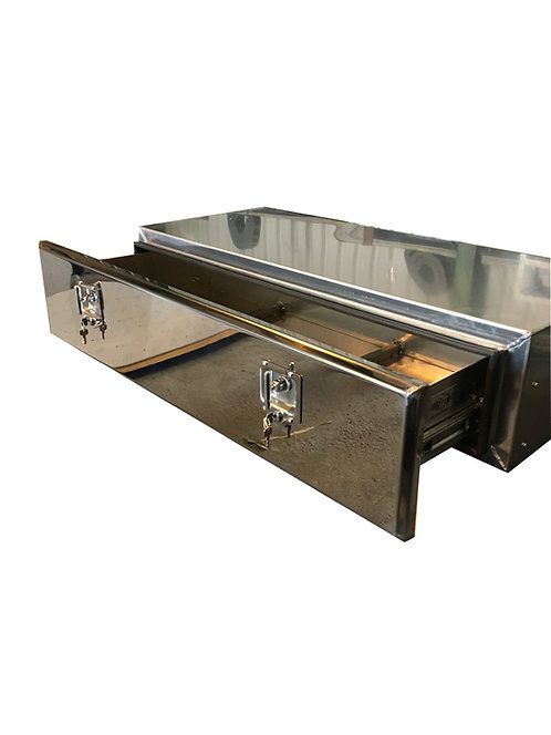W800xD500XH300 Matt Stainless Mirrored Stainless Toolbox With Roll Out Shelf