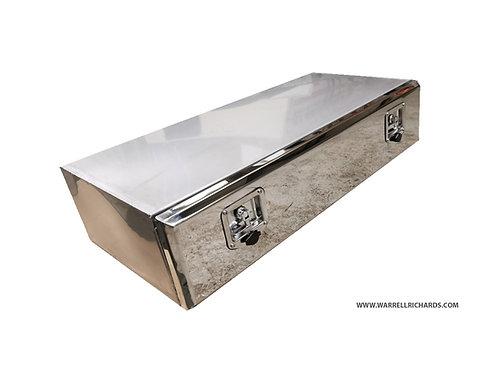 W1200XD500XH250 Matt Stainless, Mirrored lid truck tool box, Low loader trailer