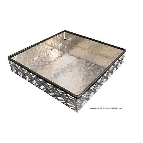 W500xD500xH100 Tray, Aluminium chequerplate, 2mm base thickness