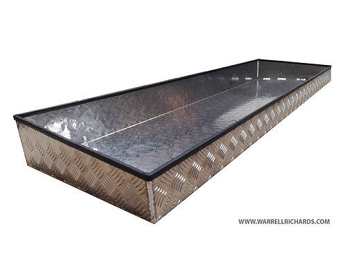 W1800xD475xH180/100 Tray, Aluminium chequerplate, 2mm base thickness