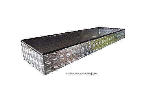 W1500xD475xH200/150 Aluminium chequerplate tray, Recovery truck strap tray