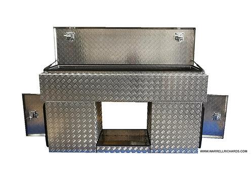 W1800XD450XH1000 Aluminium chequerplate toolbox, Volvo rear cab, Trailer storage
