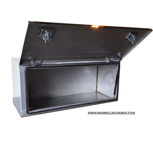 W1200XD500XD500 Matt Stainless With Mirrored Stainless Door & Gas Strut Toolbox