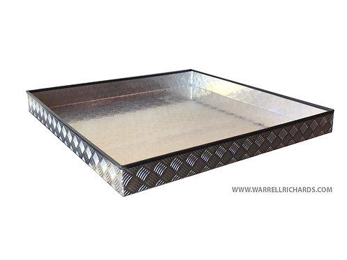 W1000xD1000xH100 Tray, Aluminium chequerplate catwalk storage, ratchet strap