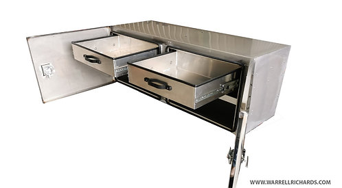 W1600xD600xH600 - Stainless toolbox with 2 roll out shelves & 2 fixed shelves