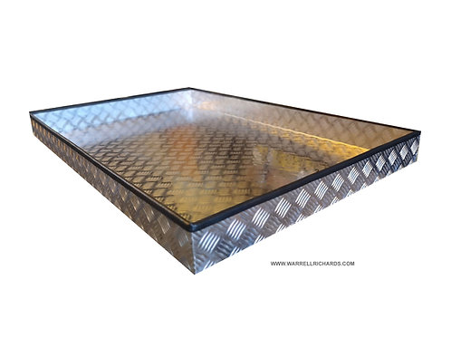 W1400xD475xH100 Aluminium chequerplate strap tray, side rail trailer storage