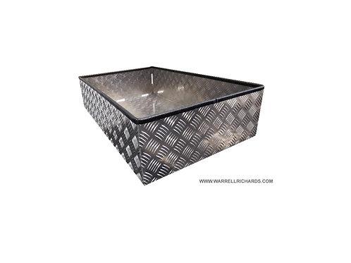 W800xD475xH180 Over toolbox tray, Aluminium chequerplate strap tray