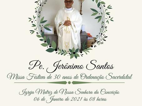 Padre Jerônimo celebra jubileu de pérola sacerdotal