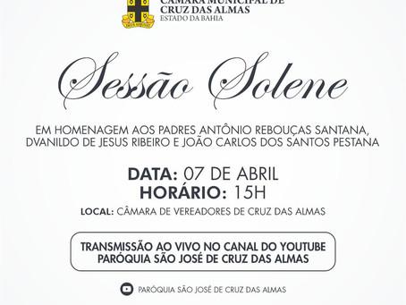 Câmara de Cruz das Almas realiza Sessão Solene em homenagem aos Padres