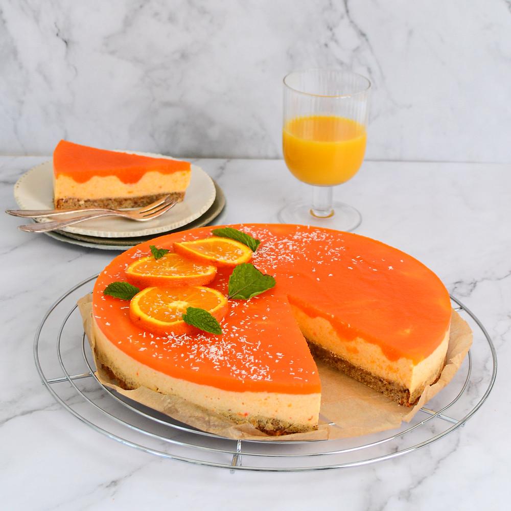 Recept kwarktaart met sinaasappel en perziken