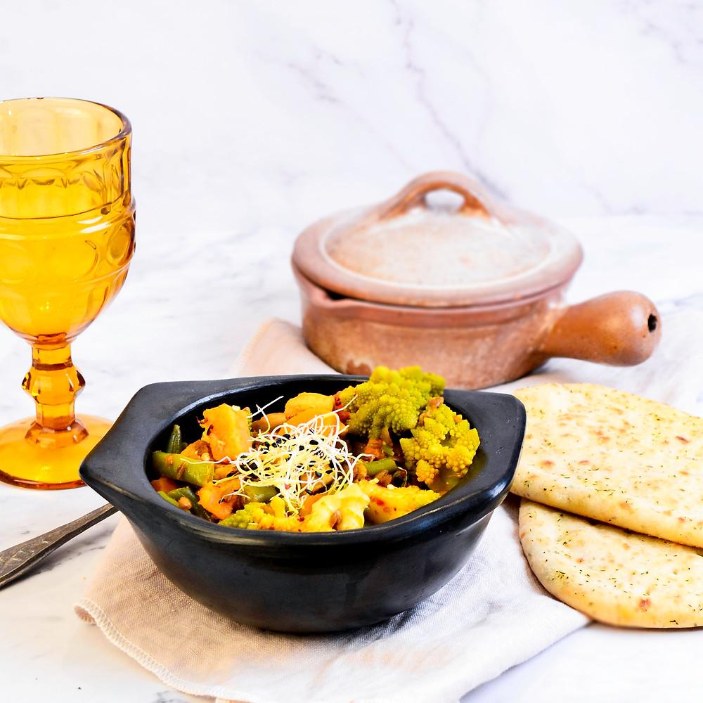 Curry recept met zoete aardappel en romanesco