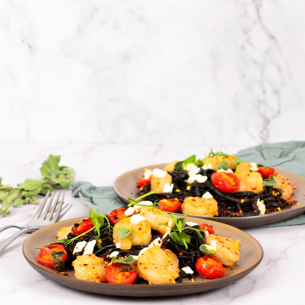 Recept van pasta met garnalen, tomaatjes en een crème van citroen