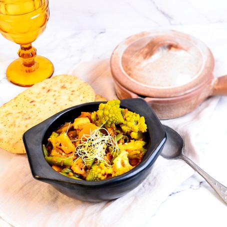 Indiase curry met zoete aardappel en romanesco